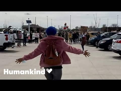 Cancer survivor surprised with parking lot party   Humankind